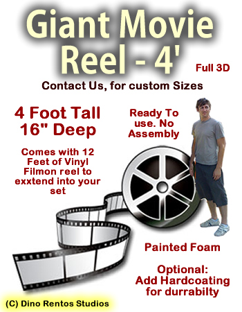 Giant 4 Foot Movie Reel With Film Foam Prop