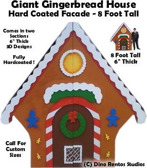 8 Foot Foam Hardcoated Gingerbread House Display/Prop