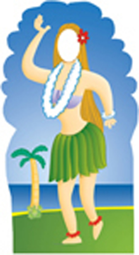 Hula Girl Cardboard Stand-In
