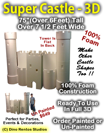 Giant Super Castle 3D Foam Prop - 6 Foot by 7 Foot