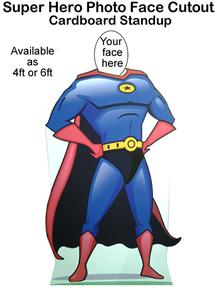 Superhero Photo Face Cutout Cardboard Standup Prop