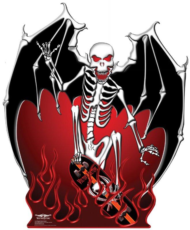 Vulture Kulture Winged Skate Death - Halloween Cardboard Cutout Standup Prop