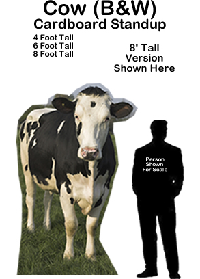 Cow Black & White Cardboard Cutout Standup Prop