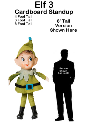 Christmas Elf 3 Cardboard Cutout Standup Prop