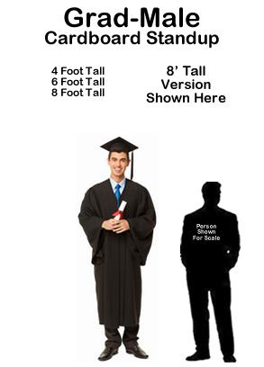 Grad Male Cardboard Cutout Standup Prop