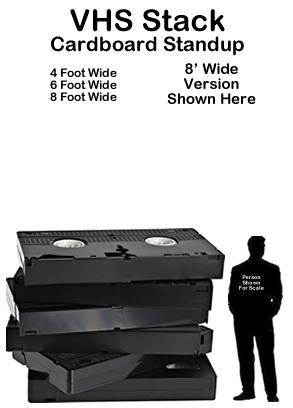 VHS Stack Cardboard Cutout Standup Prop