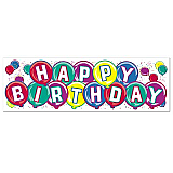 "Happy Birthday Sign Banner 5' 3"" x 21"""