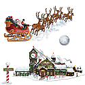 "Santa's Sleigh & Workshop Props 8"" x 62"""