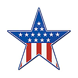 Patriotic Star Cutout 15""