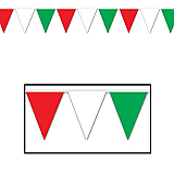 """Red, White & Green Pennant Banner 10"""" x 12'"""