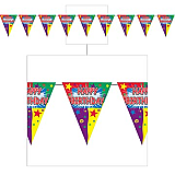"Happy Birthday Pennant Banner 10"" x 12'"