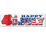 "Happy 4th Of July Sign With Tissue Firecracker 8"" x 31"""
