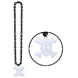 Black Chain Beads With Skull & Crossbones Medallion