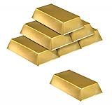 """Plastic Gold Bar Decorations 7"""" x 4"""" x 1½"""" Prop"""