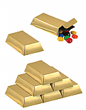"Foil Gold Bar Favor Boxes 3"" x 1½"" x ¾"""
