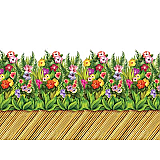 "Tropical Flower & Bamboo Walkway Border 24"" x 30'"