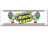 Welcome Race Fans Sign Banner 5&#039; 3&quot; x 21&quot;