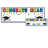Congrats Grad Sign Banner 5&#039; x 21&quot;