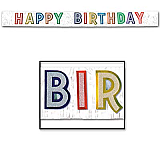 "Metallic Happy Birthday Banner 10"" x 9'"