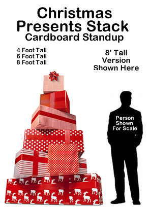 Christmas Presents Stack Cardboard Cutout Standup Prop - Dino ...