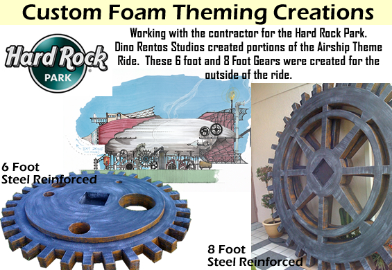 Giant 8 Foot gear props for theming a building at the HardRock Park