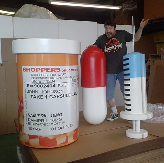 Oversized - Big - Prescirtion Bottle and medical products for a Trade Show Display