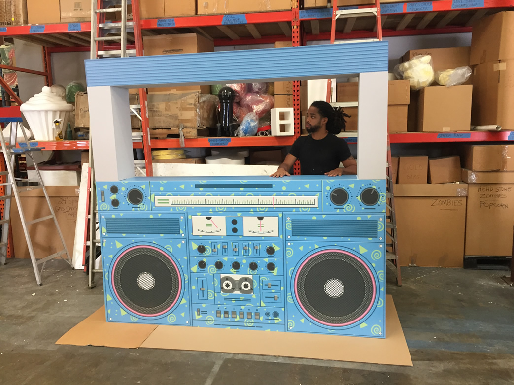 80s boom box print on foam sculpture prop