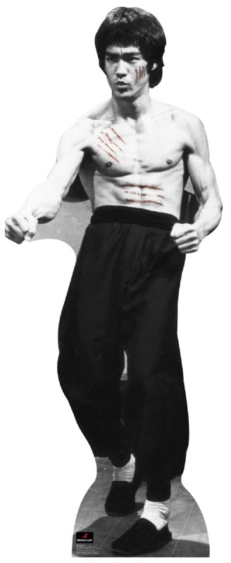 Bruce Lee With Cuts - Bruce Lee Cardboard Cutout Standup Prop