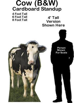 Cow Black & White Cardboard Cutout Standup Prop