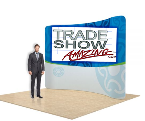 10 FT Curved Back Wall Display with Custom Fabric Graphic