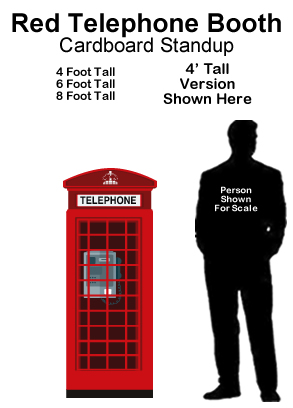 Red Telephone Booth Cardboard Cutout Standup Prop