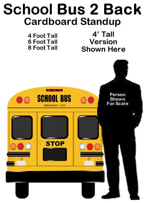 School Bus 2 Back Cardboard Cutout Standup Prop Dino Rentos