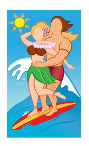 Surfer Couple Photo Face Cutout