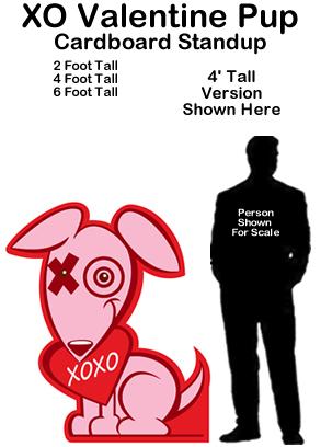 XO Valentine Pup Cardboard Cutout Standup Prop