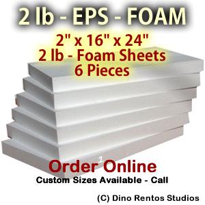 EPS Foam  Sheet - 2 lb Density - 2x16x24 - 6 Pieces
