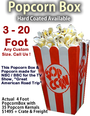 Giant/Big Popcorn Box and Kernels - Any Size