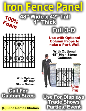 """Iron Panel 42""""Tall x 48"""" Wide x 1"""" Thick Foam Prop"""