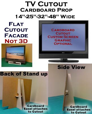 TV LCD Fake-Faux-Dummy Cardboard Cutout Standup Prop