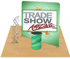 8ft Straight Portable Fabric Tension Exhibition Display System (With Graphic)