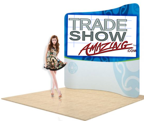 7.5 FT Curved Back Wall Display with Custom Fabric Graphic