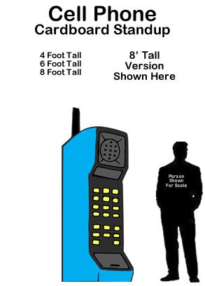 80s Cell Phone Cardboard Cutout Standup Prop