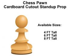 Chess Pawn Wood Cardboard Cutout Standup Prop