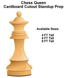 Chess Queen Wood Cardboard Cutout Standup Prop