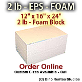 EPS Foam  Block - 2 lb Density - 12x16x24