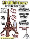 Big 3D Eiffel Tower Foam Display Prop