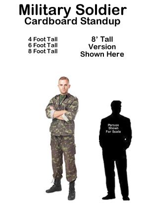 Cardboard People Army Soldier Life Size Cardboard Cutout Standup Artwork Elevator Cardboard Cutouts
